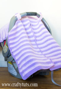 Crochet Car Seat Cover, FREE pattern & video tutorial. How to make a crochet Car Seat Cover with a split so you can easily open it to check on the baby