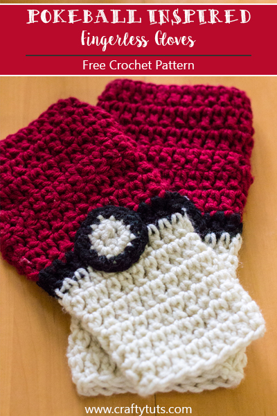 Pokeball Inspired Fingerless gloves Free Crochet Pattern. For all the pokemon go fans out there, to keep your hands warm while you catch them all!