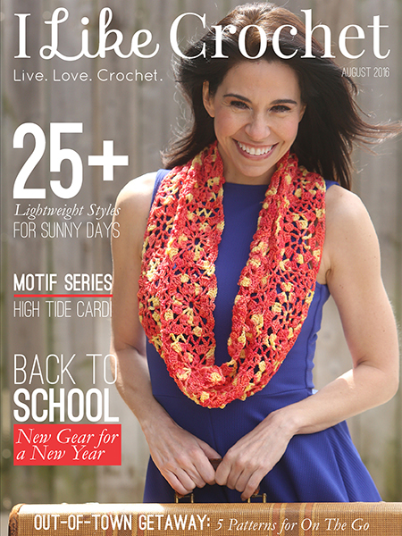 I Like Crochet Magazine – August 2016 Review. Featuring more than 25 summer patterns, back to school patterns, summer scarves and ponchos.