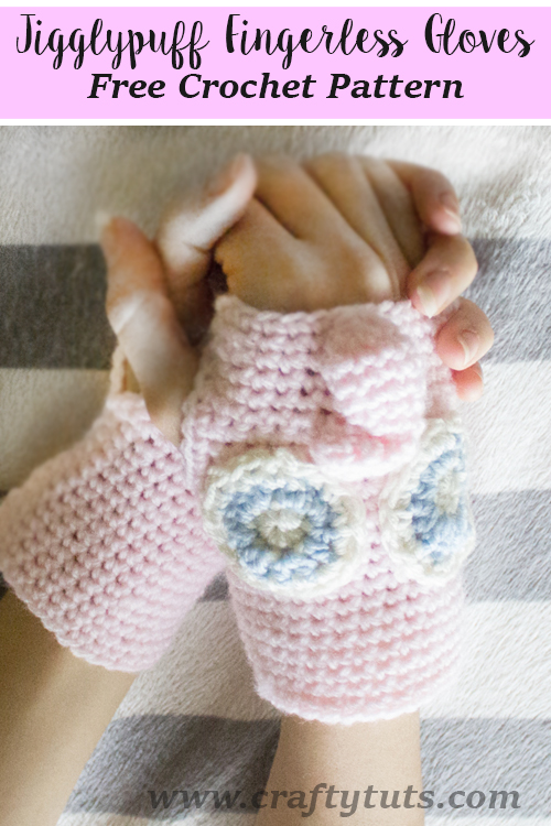 Jigglypuff Fingerless Gloves Free Crochet Pattern and video tutorial. See how to create this lovely pokemon Jigglypuff in glove version.