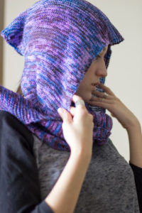 Hooded Scarf Free Knitting Pattern. Great knitting project to stay warm during the winter months to come. Hoodie scarf knitting project.
