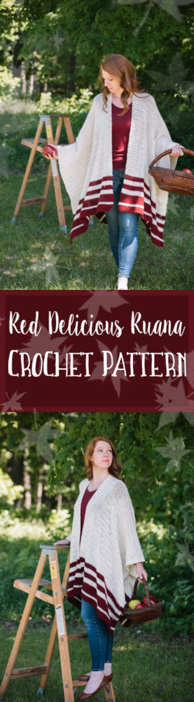 Red Delicious Ruana Crochet pattern. Comfortable, easy to wear and beautiful fall accesory. Best of all, this pattern is beginner friendly.